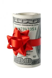 Cash - roll of money w:red bow